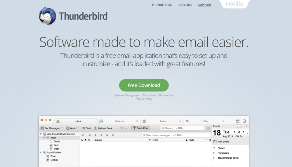 Snímka webovej stránky Thunderbird.