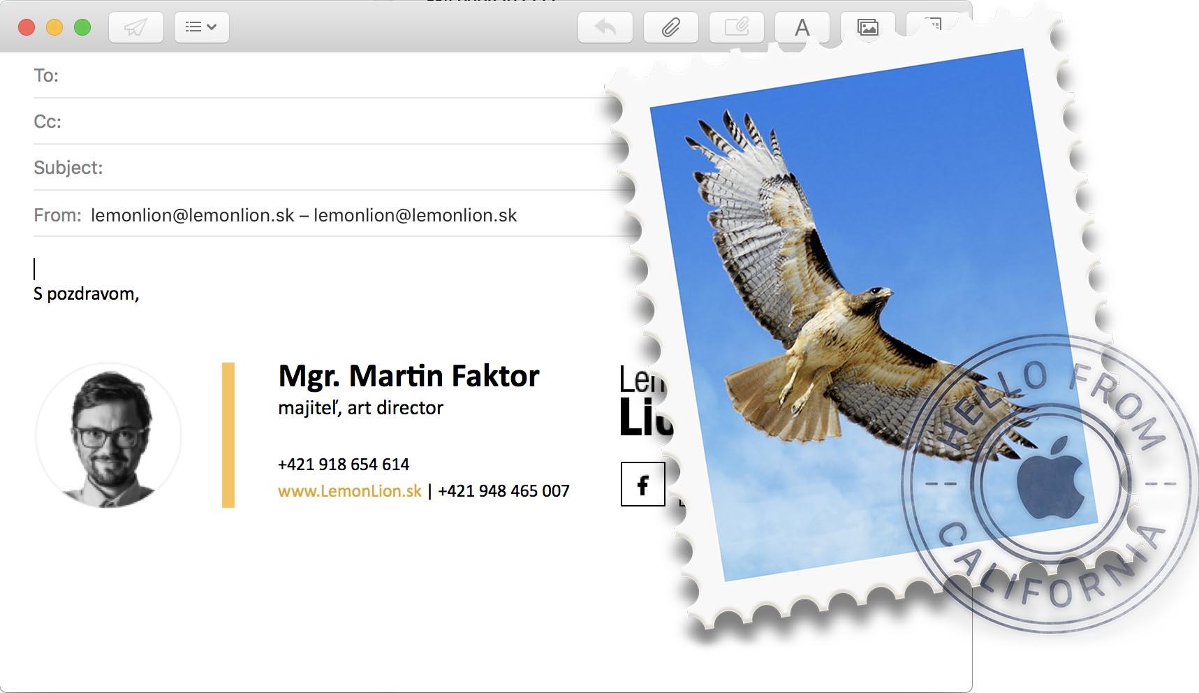 E-mailový podpis v desktopovej verzií OS X Mail od Apple