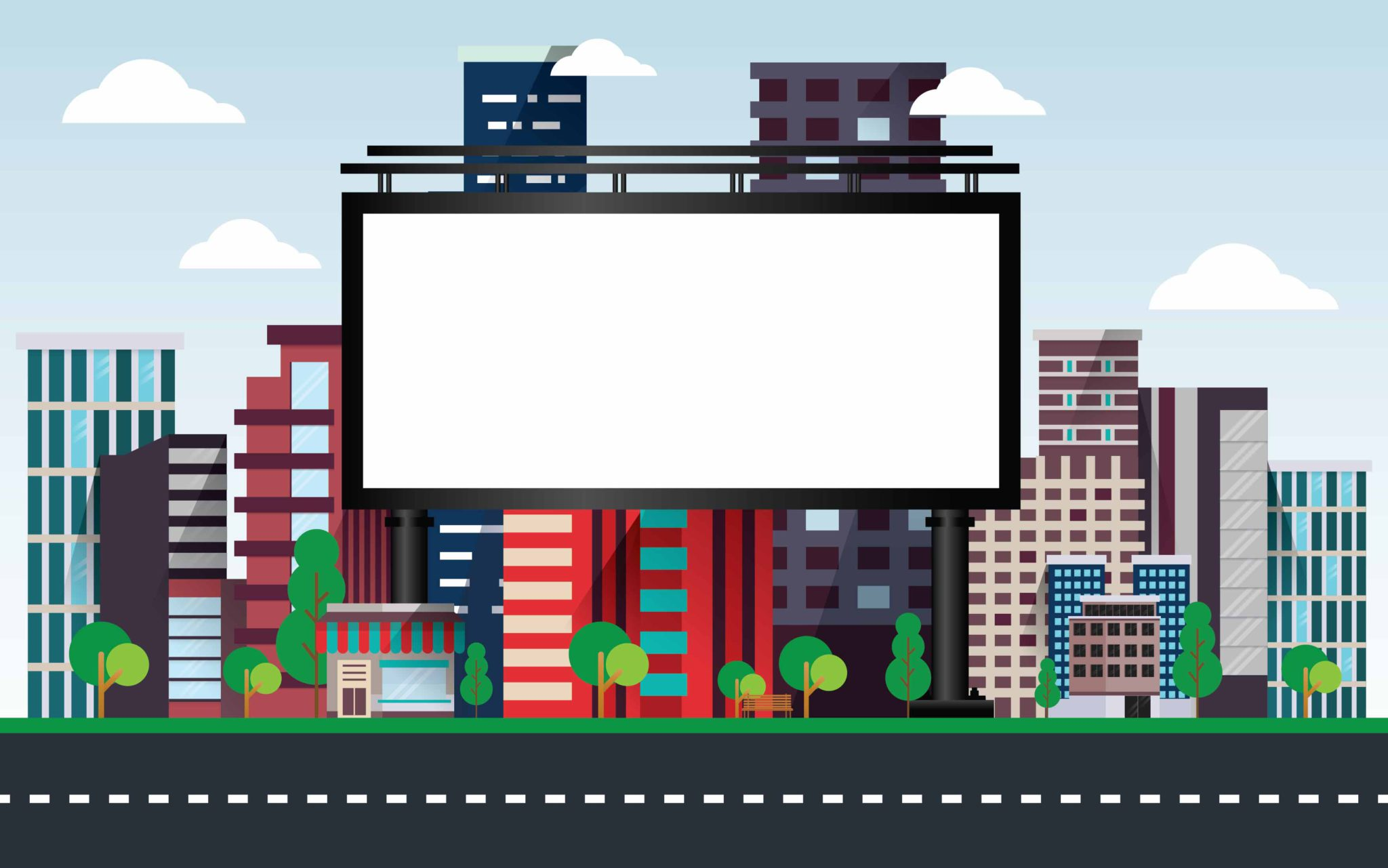 Vektorová ilustrácia billboardu pri ceste vo veľkom meste.