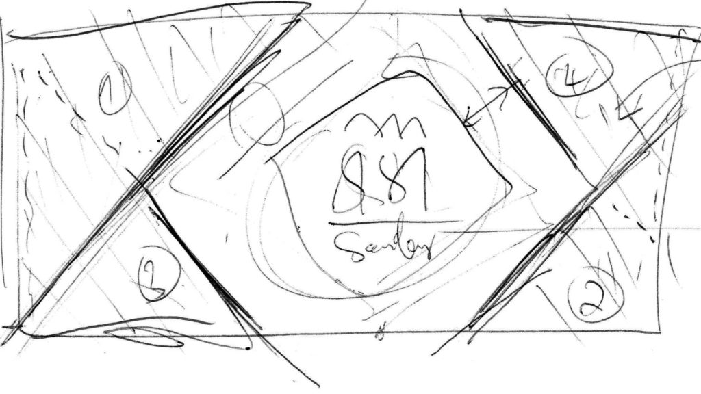 Tretia zo štyroch skicí potrebných pri príprave animovaného loga Sisi Gardens v Púchove.