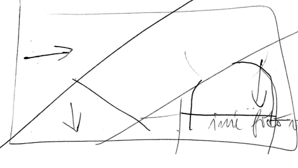 Štvrtá zo štyroch skicí potrebných pri príprave animovaného loga Sisi Gardens v Púchove.
