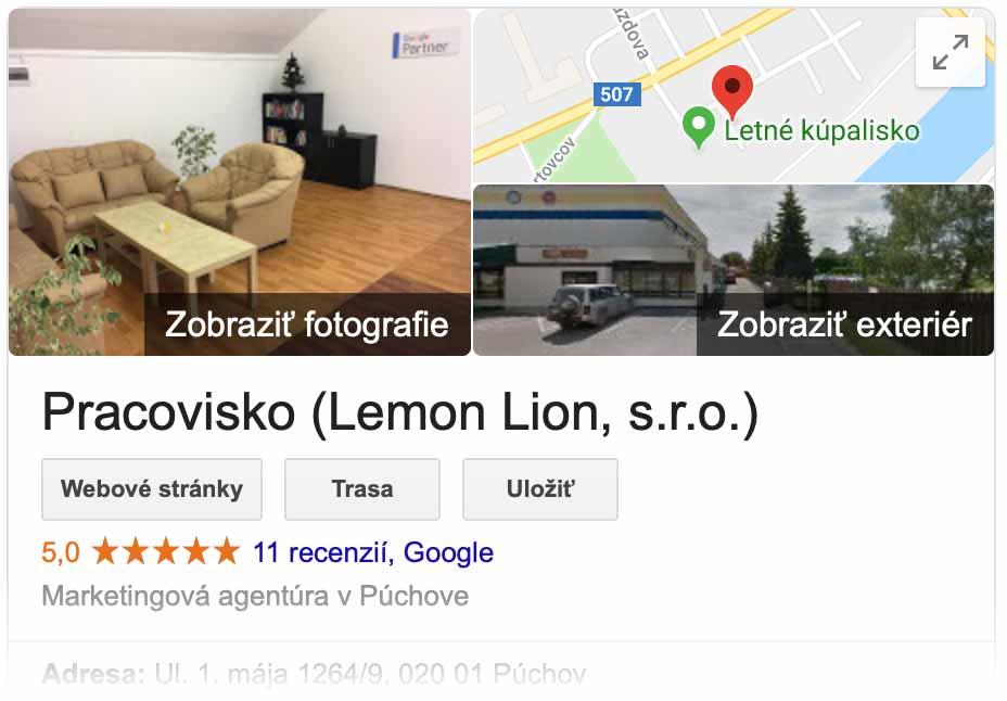 Recenzie v Google Moja firma sa zobrazujú na prominentnom mieste, hneď pod názvom firmy.