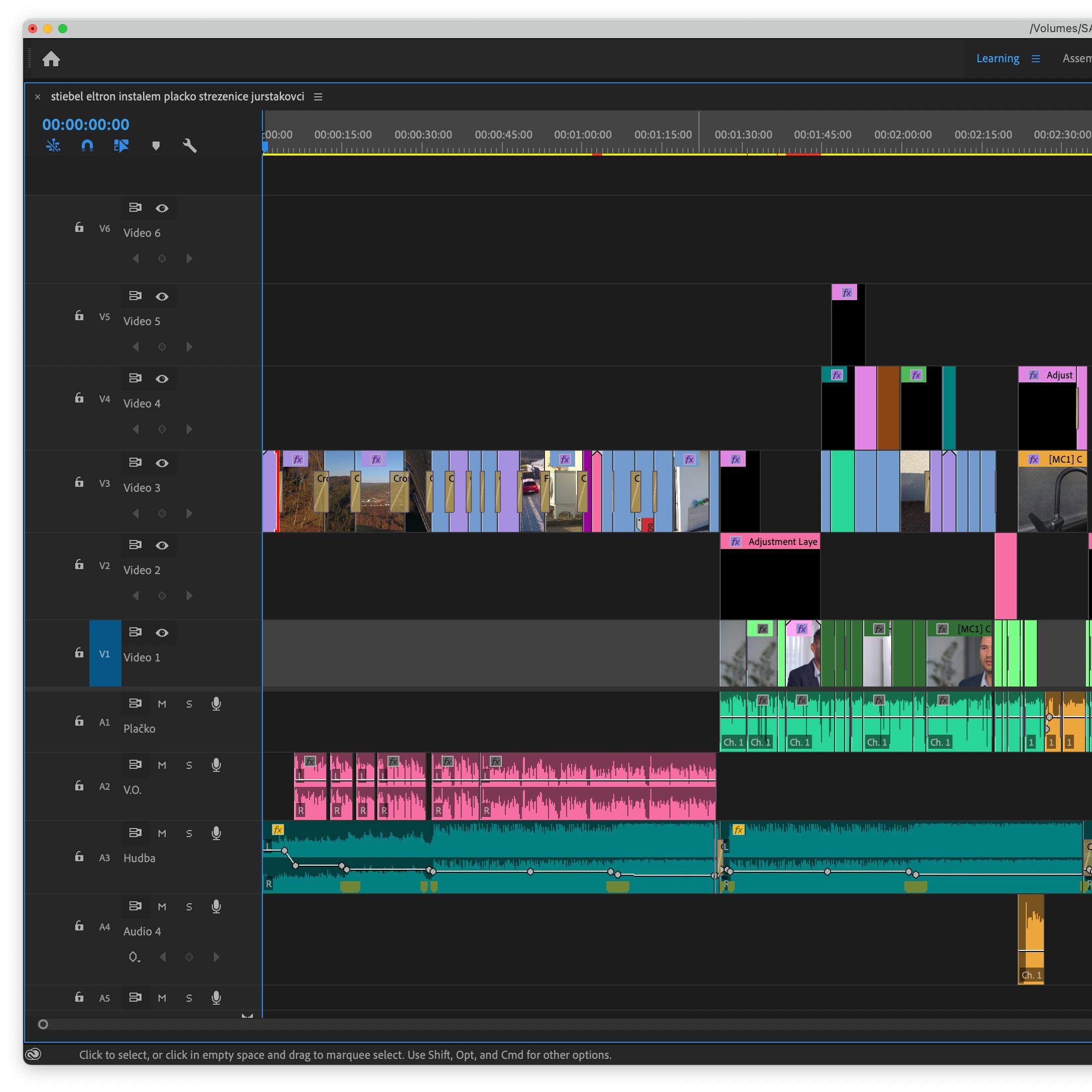 Časová os finálnej sequence v Adobe Premiere Pro